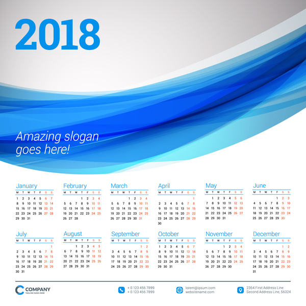Blue wavy background with 2018 calendar vector