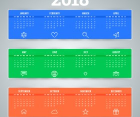 Blue with green and red 2018 calendar template vectors material
