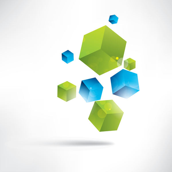 Blue with green cube background illustration vector