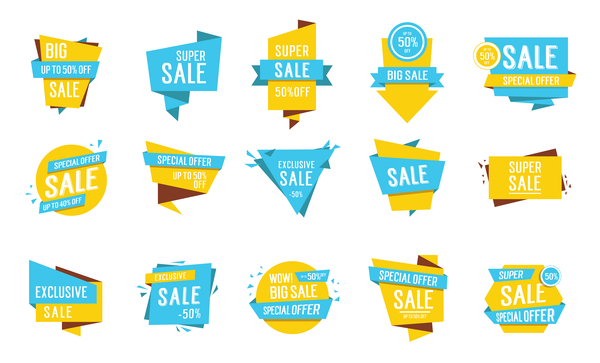 Blue with yellow origami sale labels vector