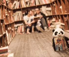 Bookshelf next to talk to people Stock Photo