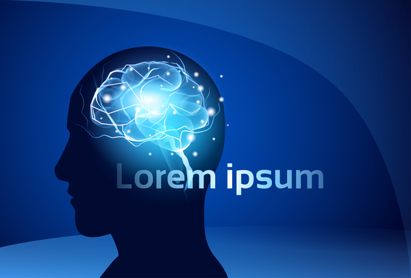 Brain neurons with blue background vectors 04