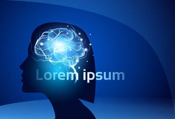 Brain neurons with blue background vectors 05