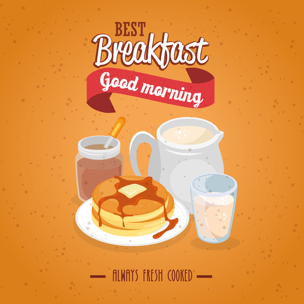 Breakfast poster with red ribbon vectors 01
