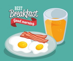 Breakfast poster with red ribbon vectors 02