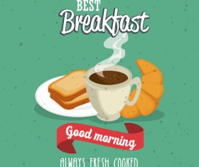 Breakfast poster with red ribbon vectors 03