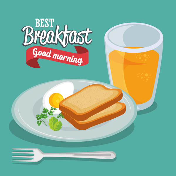 Breakfast poster with red ribbon vectors 04