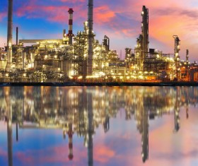 Brightly lit oil refinery Stock Photo