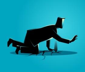 Businessman Silhouette Crawling Crack Land vector