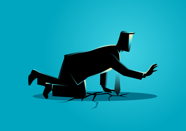 Businessman Silhouette Crawling Crack Land vector