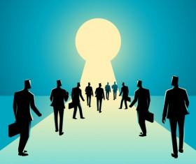 Businessman Silhouette Crowd Keyhole vector