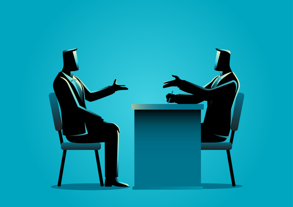 Businessman Silhouette Job Interview vector