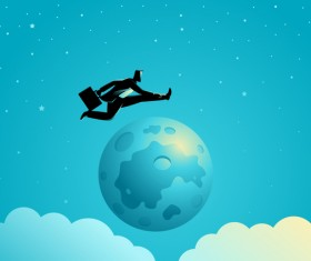 Businessman Silhouette Jump Over The Moon vector