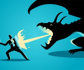 Businessman Silhouette Knight Dragon vector