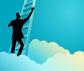 Businessman Silhouette Ladder To Success vector
