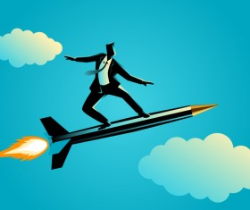 Businessman Silhouette Rocket Pen vector