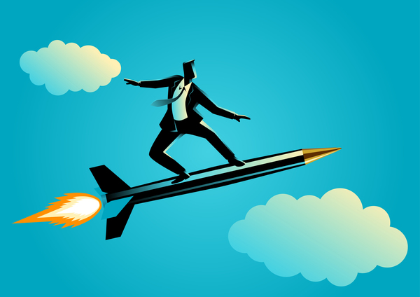 Businessman Silhouette Rocket Pen vector