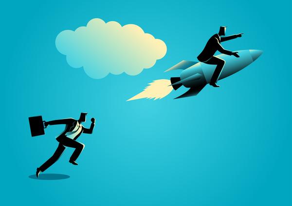 Businessman Silhouette Rocket Unfair Race vector