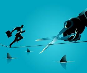 Businessman Silhouette Rope Scissors Sharks vector