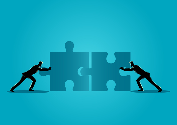 Businessman Silhouette Team Pushing Puzzle vector