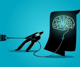 Businessman Silhouette Unplug Brain vector