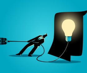 Businessman Silhouette Unplug Light Bulb vector
