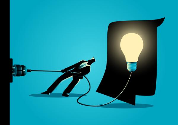 Businessman Silhouette Unplug Light Bulb vector