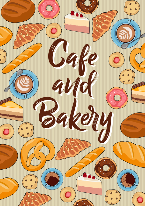 Cake with bakery seamless pattern vector 01