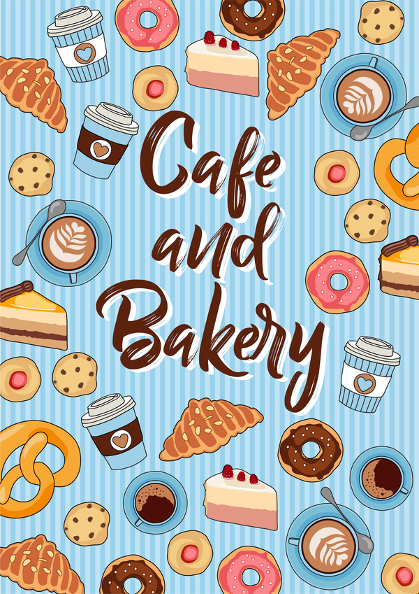 Cake with bakery seamless pattern vector 02