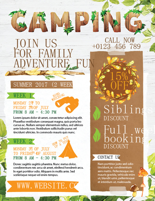 Camping flyer template vector 02