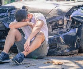 Car accident sad man Stock Photo