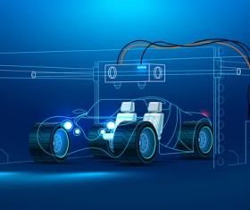 Car smart maintenance business template vector