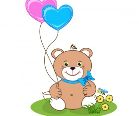 Cartoon cute teddy bear with heart vector material 01