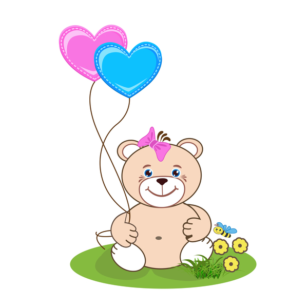 Cartoon cute teddy bear with heart vector material 02