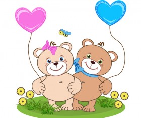 Cartoon cute teddy bear with heart vector material 03