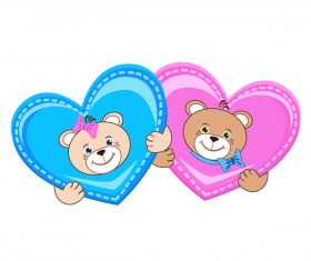 Cartoon cute teddy bear with heart vector material 04
