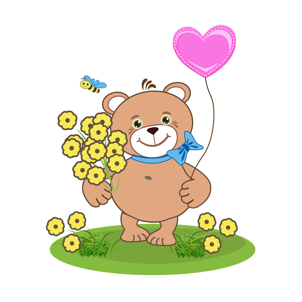Cartoon cute teddy bear with heart vector material 05