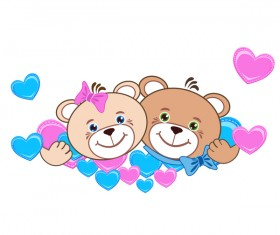 Cartoon cute teddy bear with heart vector material 06