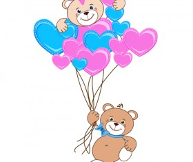 Cartoon cute teddy bear with heart vector material 07