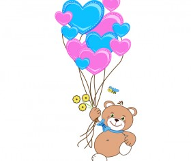 Cartoon cute teddy bear with heart vector material 09