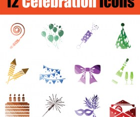 Celebration icons vector set 01