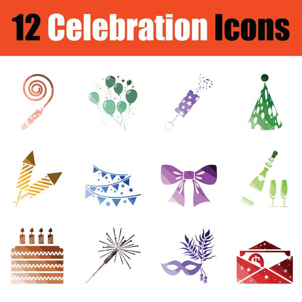 Celebration icons vector set 01