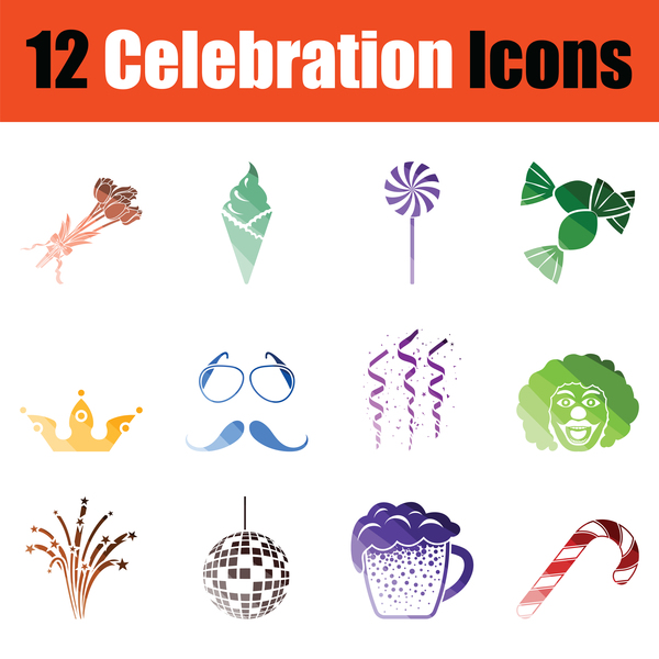 Celebration icons vector set 02