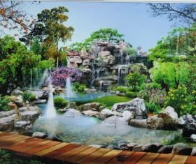 Charming rockery fountain Stock Photo