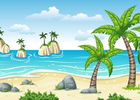 Charming tropical coastal landscape vector material 01