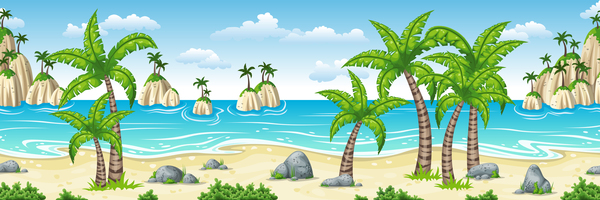 Charming tropical coastal landscape vector material 01