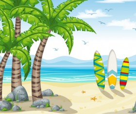 Charming tropical coastal landscape vector material 02