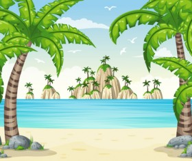 Charming tropical coastal landscape vector material 03