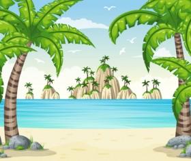 Charming tropical coastal landscape vector material 03