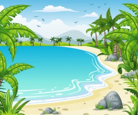 Charming tropical coastal landscape vector material 04